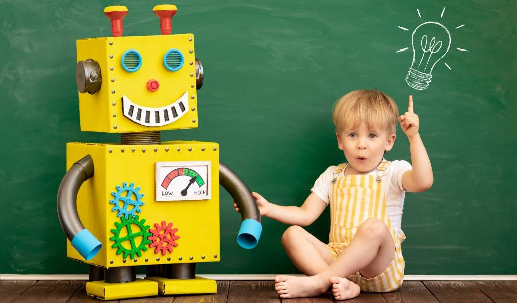 child with a robot