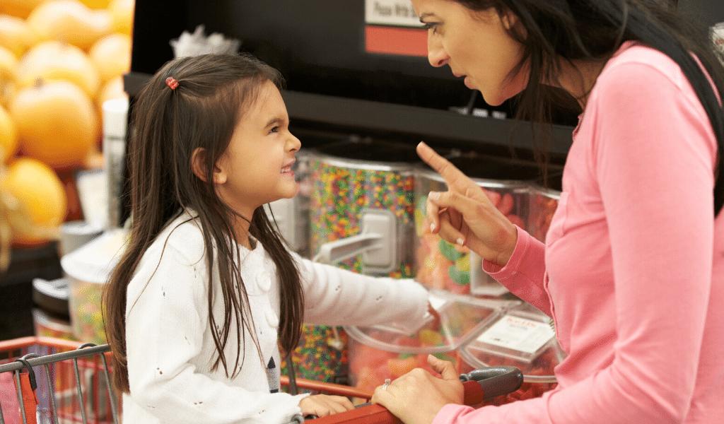 mum and daughter at supermarket