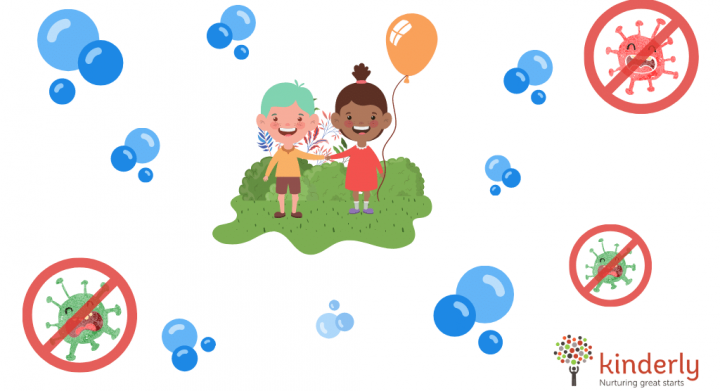 happy children surrounded by bubbles