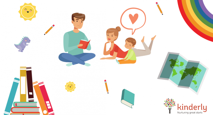 family reading with boy