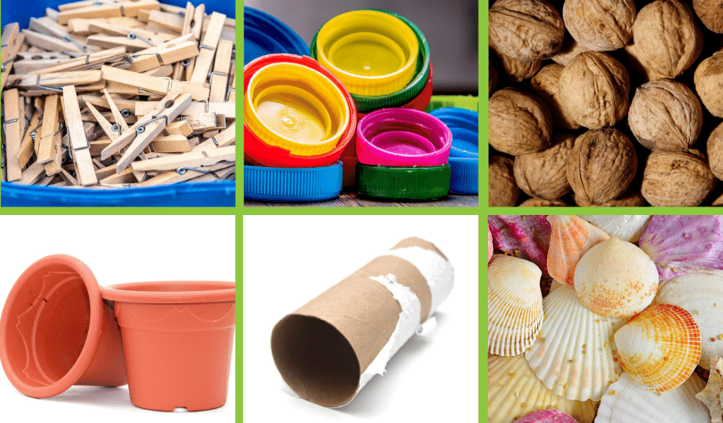 pegs, bottle tops, nuts, plastic pots, cardboard or bubble wrap