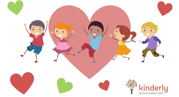 happy children dancing on top of a heart