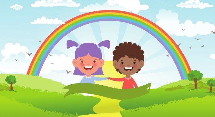 two children on a rainbow happy