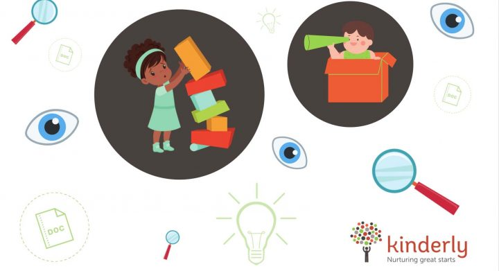 children playing surrounded by eyes and magnifying glasses
