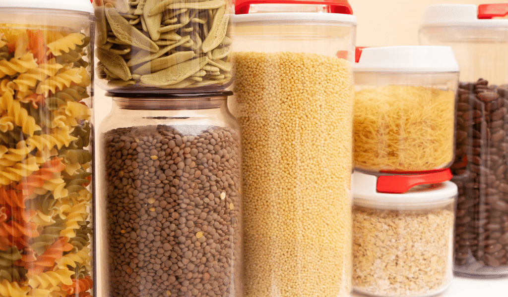 pasta, pulses and grains stored in cupboard