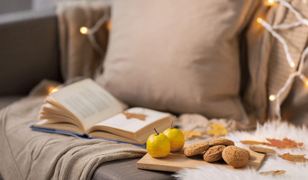 cosy sofa with books