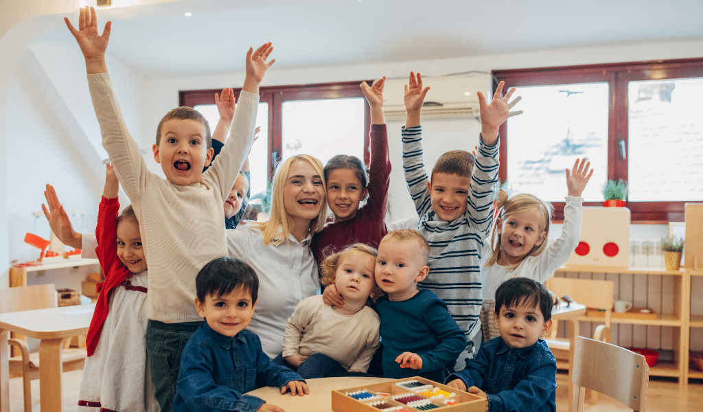 childminder surrounded by children