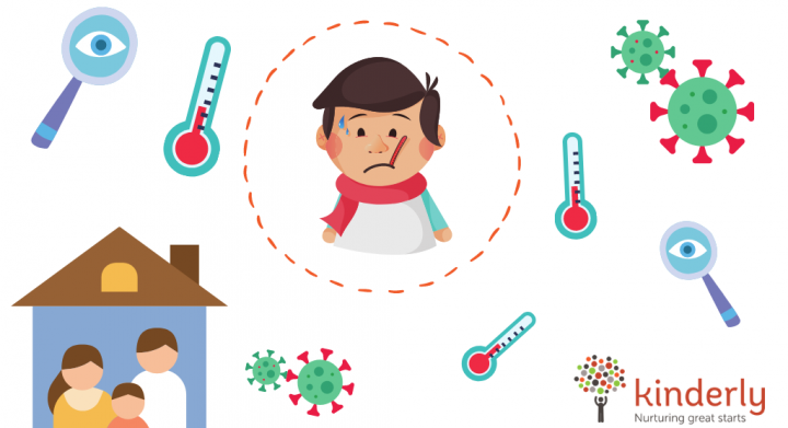 child with a fever surrounded by thermometers