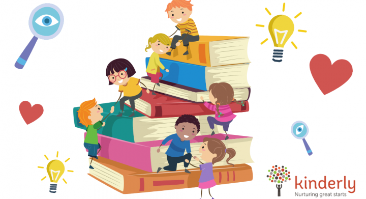children climbing on top of a pile of books