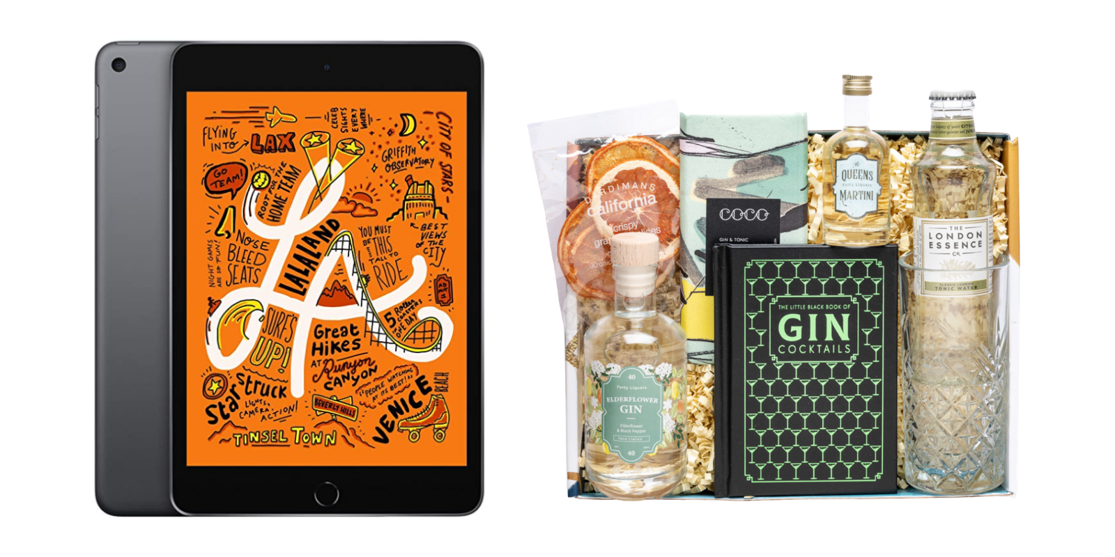 photo of an ipad mini and bottles of gin
