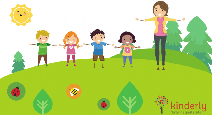 children and childminder outdoors