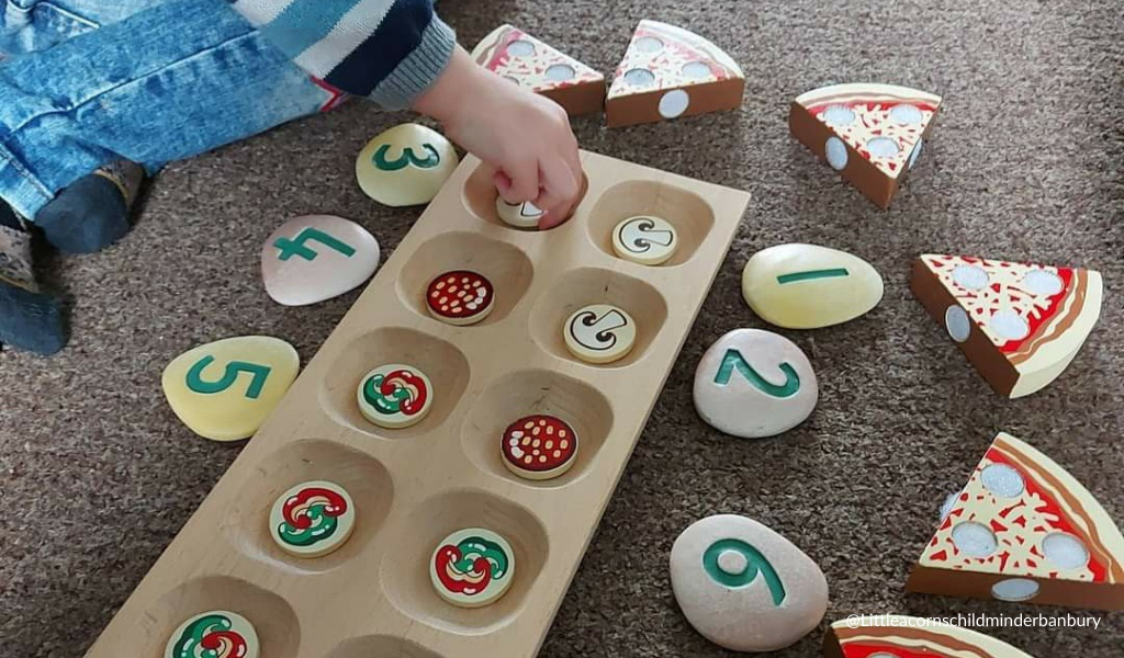 child playing with numbers