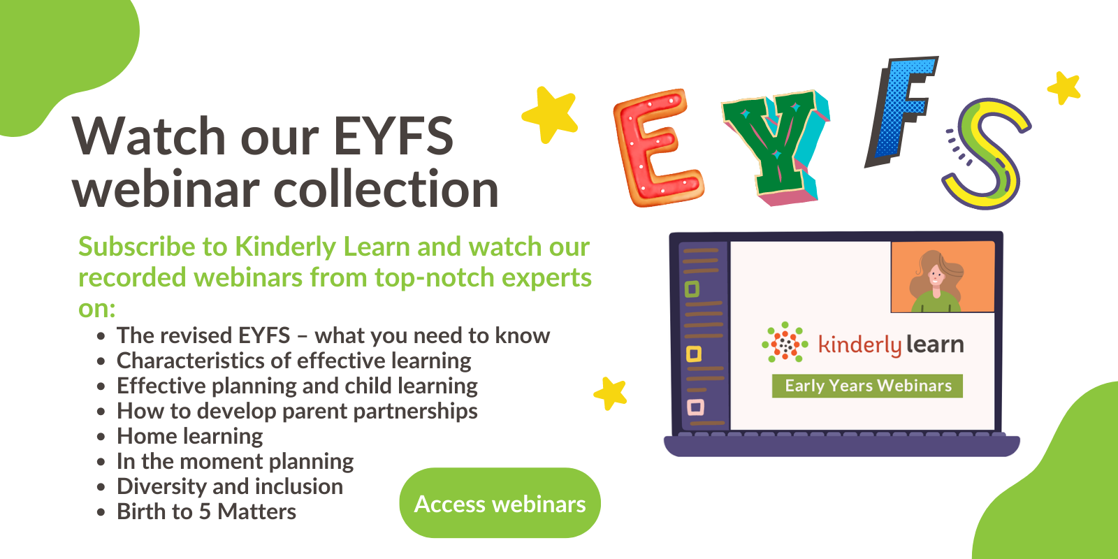 graphic explaining kinderly's eyfs webinar collection