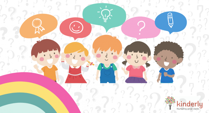 drawing of children with speech bubbles
