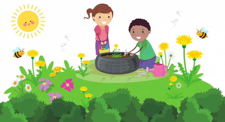 children playing with dandelions outdoors