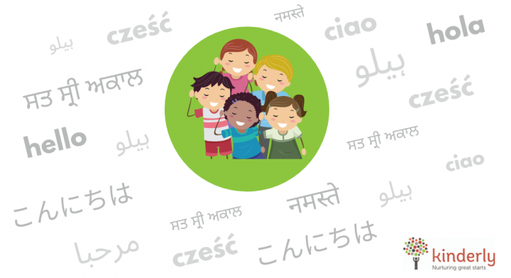 children surrounded by words in different languages
