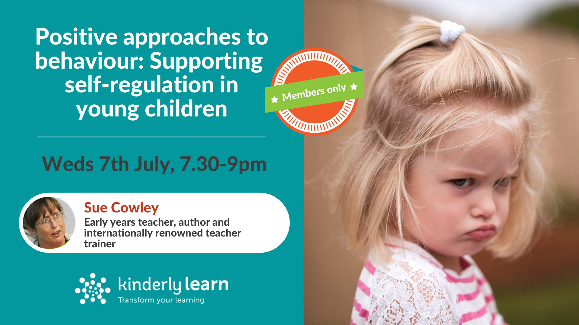 details for sue cowley webinar for kinderly