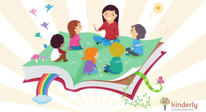 children listening to childminder telling a story