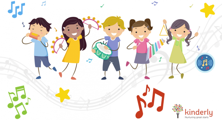 children dancing with music
