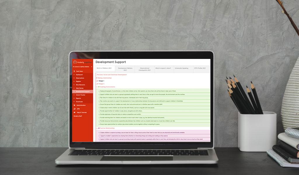 laptop showing eyfs software kinderly