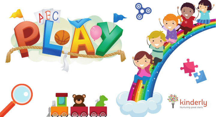 children playing in a rainbow
